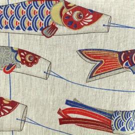 Tissu toile lin Cerf-volant - rouge/bleu x 64cm