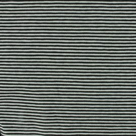 Jersey fabric small stripes - black/white x 10cm