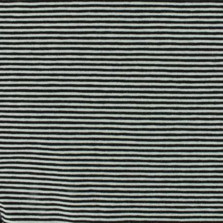Jersey fabric small stripes - black/white x 10cm