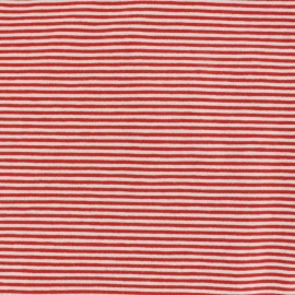 Jersey fabric small stripes - red/white x 10cm