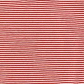 Tissu Jersey mini rayures - rouge/blanc x 10cm