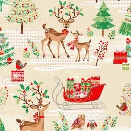 Tissu coton Makower UK Reindeer - beige x 30cm