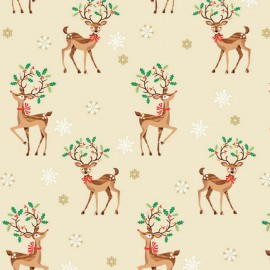 Makower UK cotton fabric Traditional Reindeer - beige x 20cm