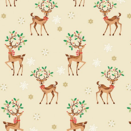 Makower UK cotton fabric Traditional Reindeer - beige x 20cm