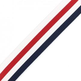 Elastique plat 50mm - navy/blanc/rouge x 50cm
