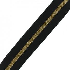 Elastique plat lurex gros grain 50mm - noir/or x 50cm