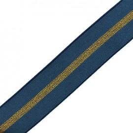 Elastique plat lurex gros grain 50mm - bleu/or x 50cm