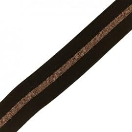 Elastique plat lurex gros grain 50mm - marron/cuivre x 50cm