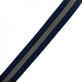 Elastique plat lurex rayures 40mm - navy/or x 50cm