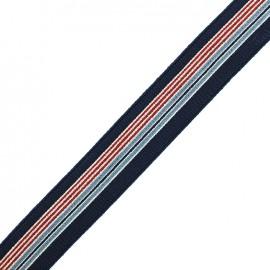 Flat elastic stripes 30mm - navy/multi x 50cm