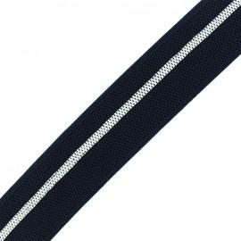 Elastique plat 40mm - navy/blanc x 50cm