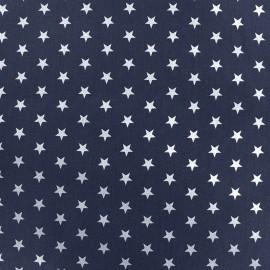 Tissu coton Etoiles - blanc/bleu marine x 10cm