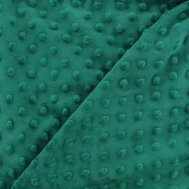 Tissu Velours minkee doux relief à pois - émeraude x 10cm