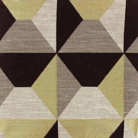 Linen canvas fabric Bachette Geometrik - black/gold x 18cm