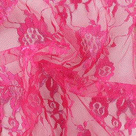 Lurex lace fabric Blossom - fuchsia x 10cm