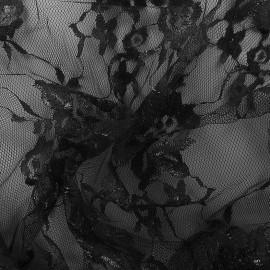 Lurex lace fabric Blossom - black x 10cm
