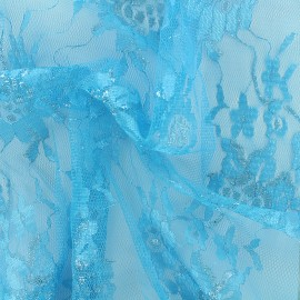 Lurex lace fabric Blossom - turquoise x 10cm