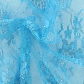 Tissu dentelle lurex Blossom - turquoise x 10cm