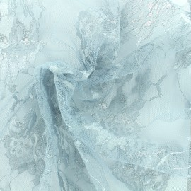 Lurex lace fabric Blossom - light grey x 10cm