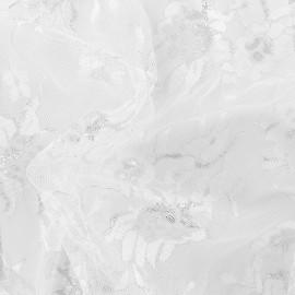 Tissu dentelle lurex Blossom - blanc optique x 10cm