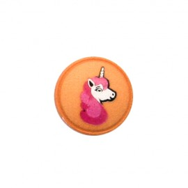 Bouton Polyester Licorne - orange