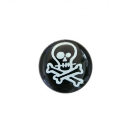 Polyester button Skull - black
