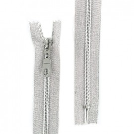 Closed bottom zipper lurex Z93 - silver