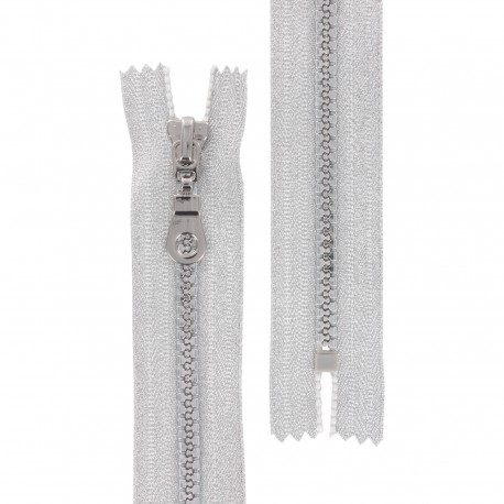 Closed bottom zipper lurex Z93 - silver