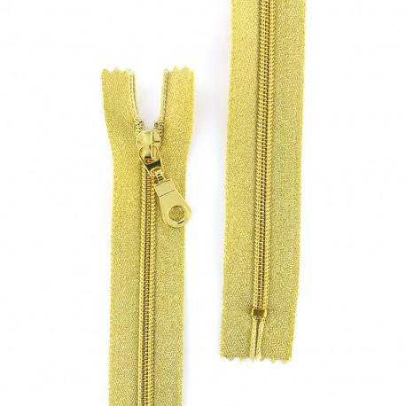 Closed bottom zipper lurex Z93 - gold