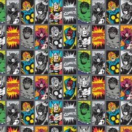Tissu coton Camelot fabrics Comic book heroes - gris x 15cm