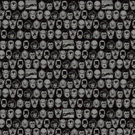 Tissu coton Camelot fabrics Character head - noir x 12cm
