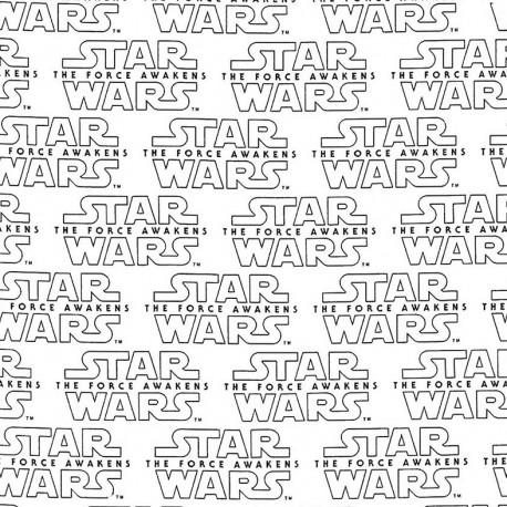Tissu coton Camelot fabrics Star Wars the force awakens - blanc x 15cm