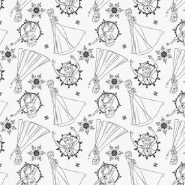 Tissu coton Camelot fabrics Frozen Elsa - blanc x 30cm
