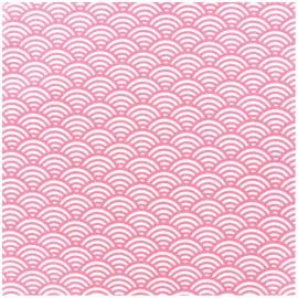 Tissu Oeko-Tex enduit coton Sushis - rose x 10cm
