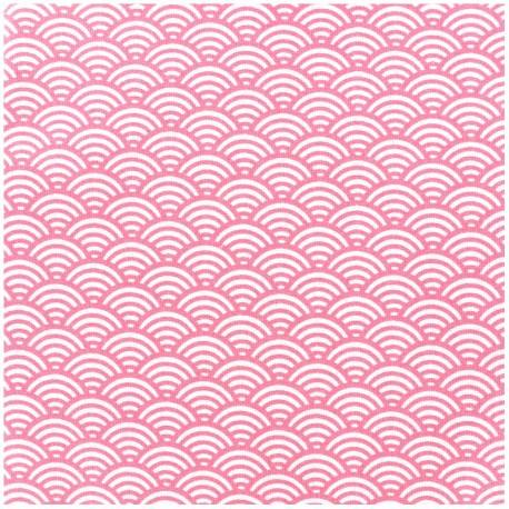 Tissu enduit coton Sushis - gris clair x 10cm