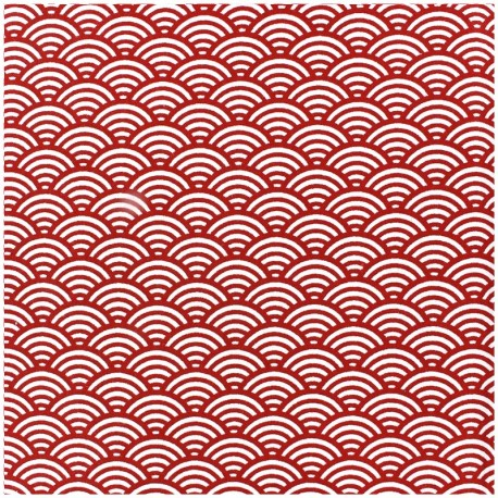 Coated cotton fabric Sushis - red x 10cm