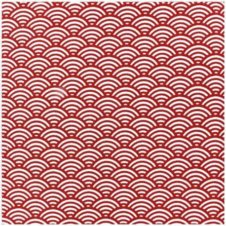 Tissu enduit coton Sushis - rouge x 10cm