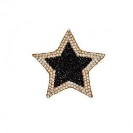 Star rhinestonemotifs iron on patch - black/gold/silver