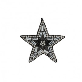 Star rhinestonemotifs iron on patch - black/silver