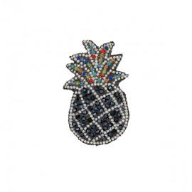 Pineapple rhinestonemotifs iron on patch - black/silver