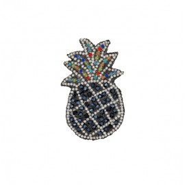 Thermocollant à strass ananas - noir/argent