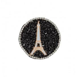 Paris at night rhinestonemotifs iron on patch - black/silver