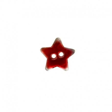 Bouton Nacre étoile - rouge