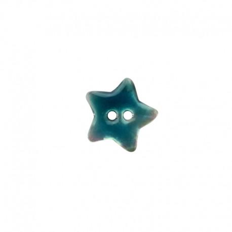 Bouton Nacre étoile - bleu ciel