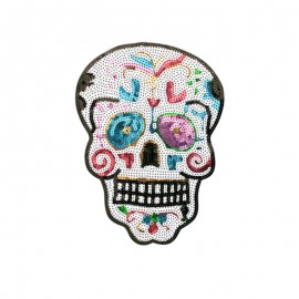 Sequin skull iron on patch - muticolor