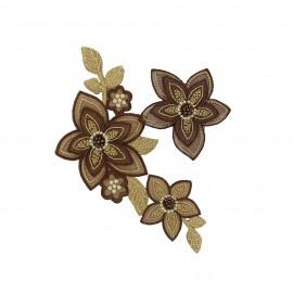 Thermocollant Fleurs Style Vintage - marron