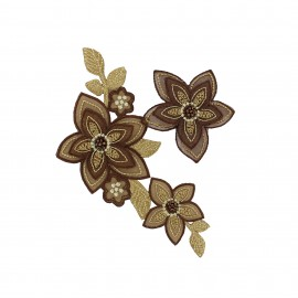 Vintage Flowers iron on patch - brown