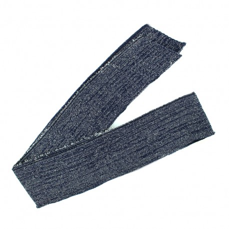 Lurex knitted tubular edging strip navy - silvery lurex (1m)