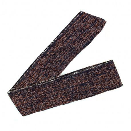 Lurex knitted tubular edging strip navy - copper lurex (1m)