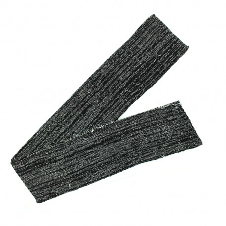 Lurex knitted tubular edging strip black - silvery lurex (1m)